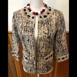 CAROLE LITTLE Linen Jacket with Mesh & Gem Detail